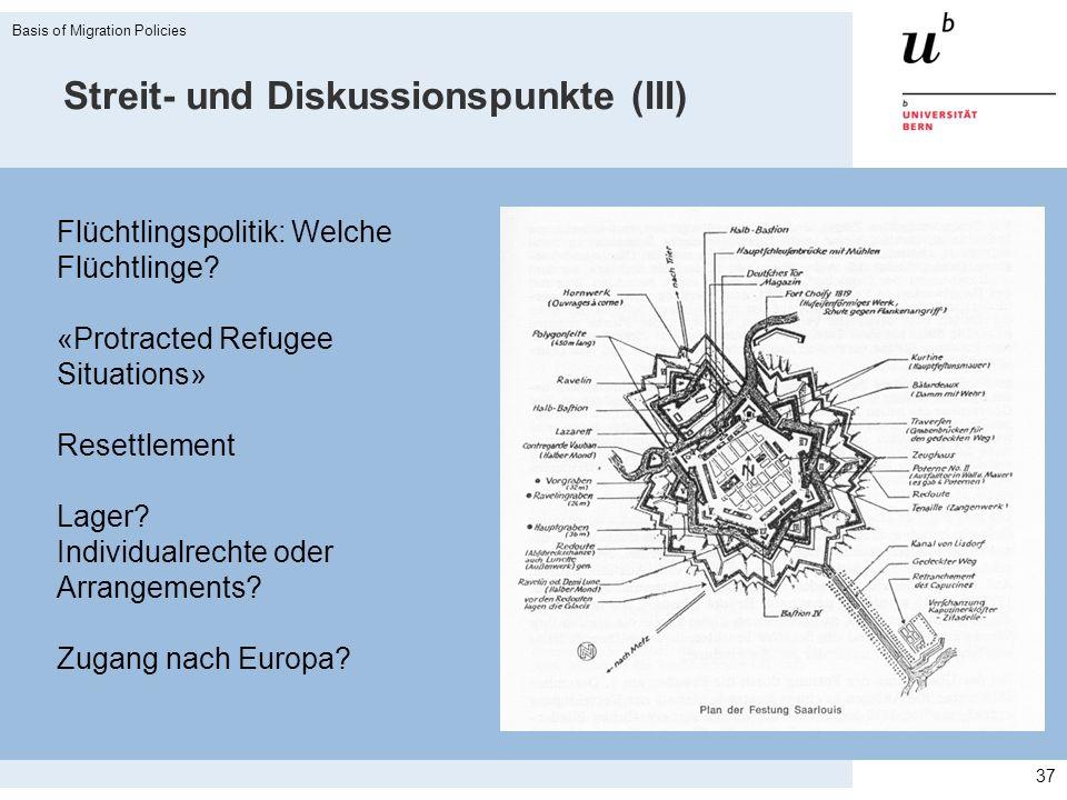 Streit- und Diskussionspunkte (III) Basis of Migration Policies 37 Flüchtlingspolitik: Welche Flüchtlinge? «Protracted Refugee Situations» Resettlemen