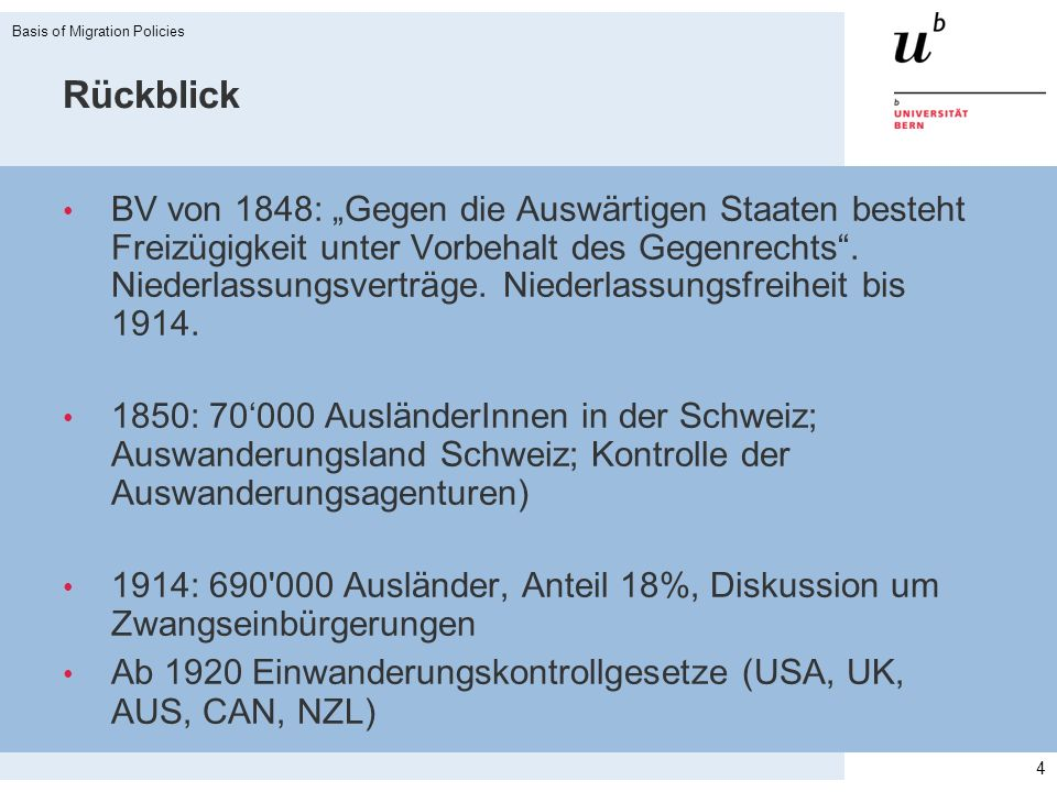 Rückblick (II) CH Ausländergesetz 1931: «Überfremdungsabwehr» 1950 - 1980 Phase von grossem Bedarf an Arbeitskräften 1964 «Italienerabkommen» (Abkommen zwischen der Schweiz und Italien über die Auswanderung italienischer Arbeitskräfte nach der Schweiz) = Migrationspartnerschaft Überfremdungsinitiativen: 5 Initiativen zw.