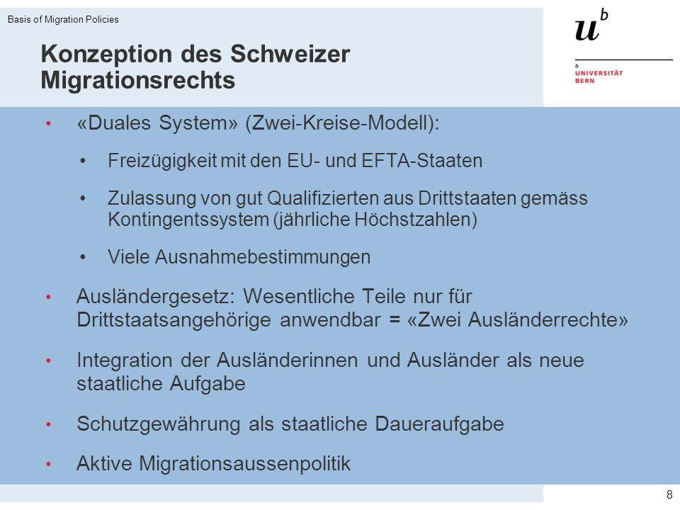 Konzeption des Schweizer Migrationsrechts «Duales System» (Zwei-Kreise-Modell): Freizügigkeit mit den EU- und EFTA-Staaten Zulassung von gut Qualifizi