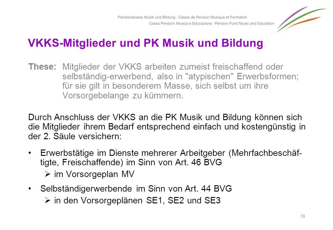 VKKS-Mitglieder und PK Musik und Bildung These: Mitglieder der VKKS arbeiten zumeist freischaffend oder selbständig-erwerbend, also in