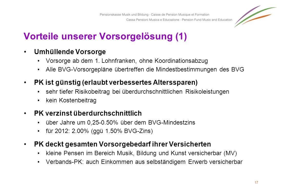 Vorteile unserer Vorsorgelösung (1) Umhüllende Vorsorge Vorsorge ab dem 1. Lohnfranken, ohne Koordinationsabzug Alle BVG-Vorsorgepläne übertreffen die