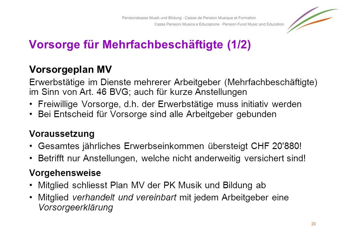 Vorsorge für Mehrfachbeschäftigte (1/2) Vorsorgeplan MV Erwerbstätige im Dienste mehrerer Arbeitgeber (Mehrfachbeschäftigte) im Sinn von Art. 46 BVG;