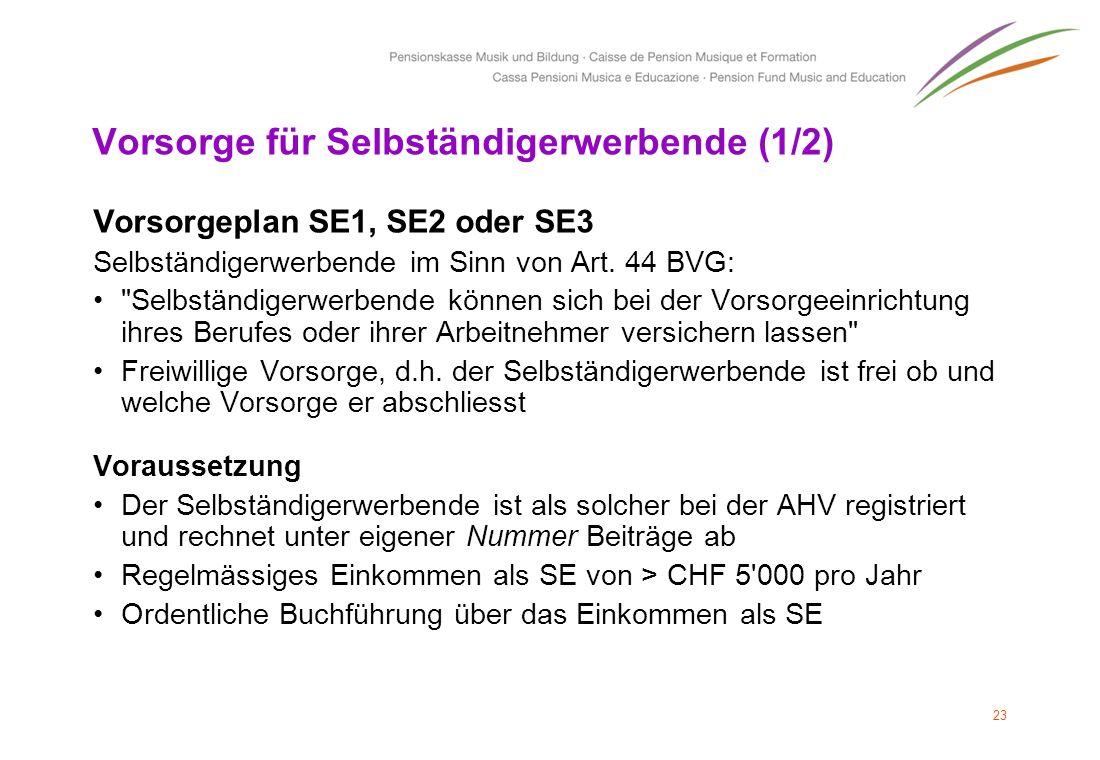 Vorsorge für Selbständigerwerbende (1/2) Vorsorgeplan SE1, SE2 oder SE3 Selbständigerwerbende im Sinn von Art. 44 BVG: