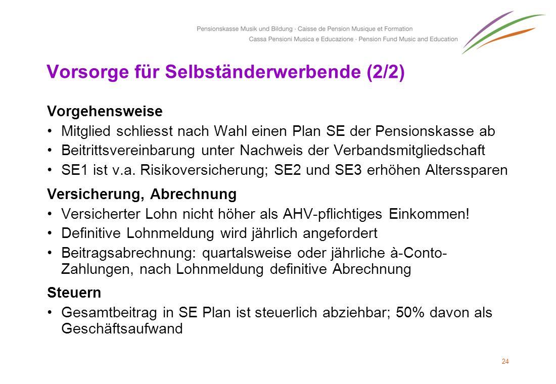 Vorsorge für Selbständerwerbende (2/2) Vorgehensweise Mitglied schliesst nach Wahl einen Plan SE der Pensionskasse ab Beitrittsvereinbarung unter Nach