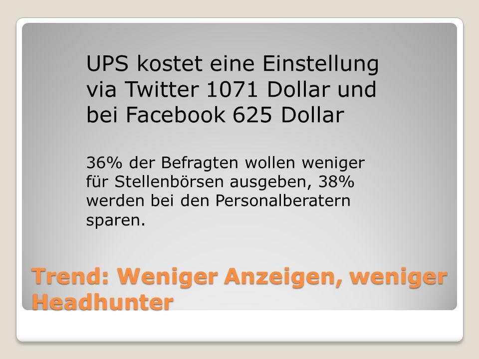 Trend: Weniger Anzeigen, weniger Headhunter UPS kostet eine Einstellung via Twitter 1071 Dollar und bei Facebook 625 Dollar 36% der Befragten wollen w