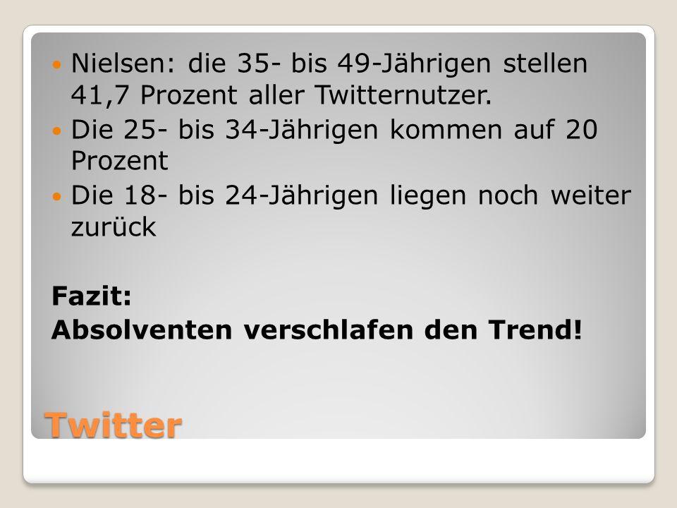 Twitter Nielsen: die 35- bis 49-Jährigen stellen 41,7 Prozent aller Twitternutzer. Die 25- bis 34-Jährigen kommen auf 20 Prozent Die 18- bis 24-Jährig