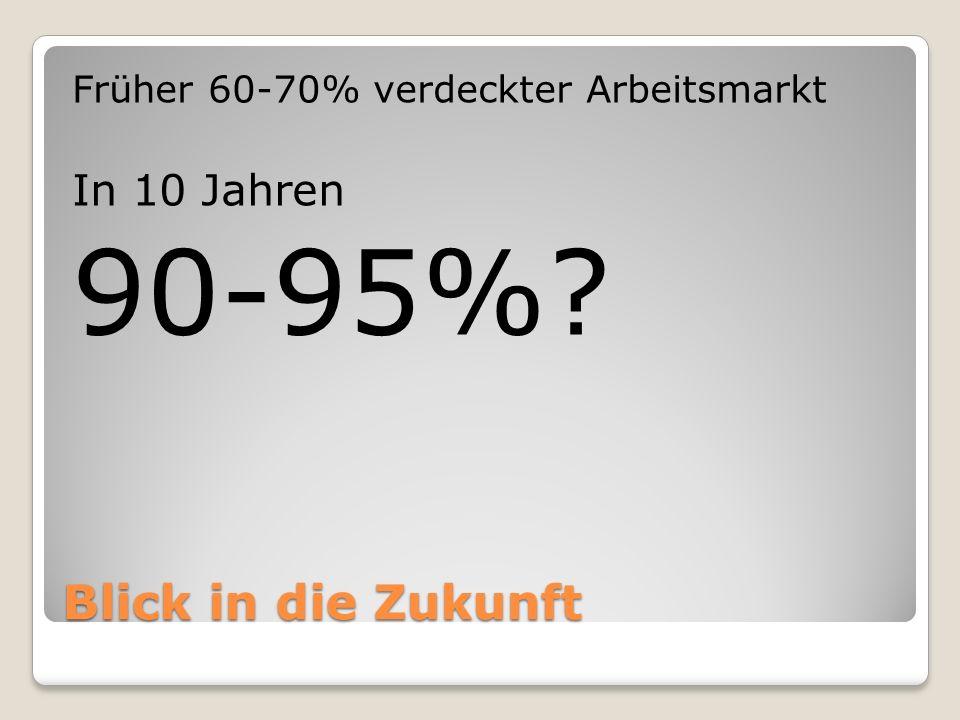 Blick in die Zukunft Früher 60-70% verdeckter Arbeitsmarkt In 10 Jahren 90-95%?