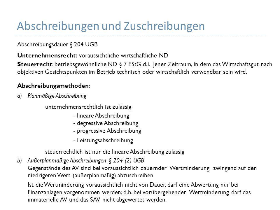 Abschreibungen und Zuschreibungen Abschreibungsdauer § 204 UGB Unternehmensrecht: voraussichtliche wirtschaftliche ND Steuerrecht: betriebsgewöhnliche ND § 7 EStG d.i.