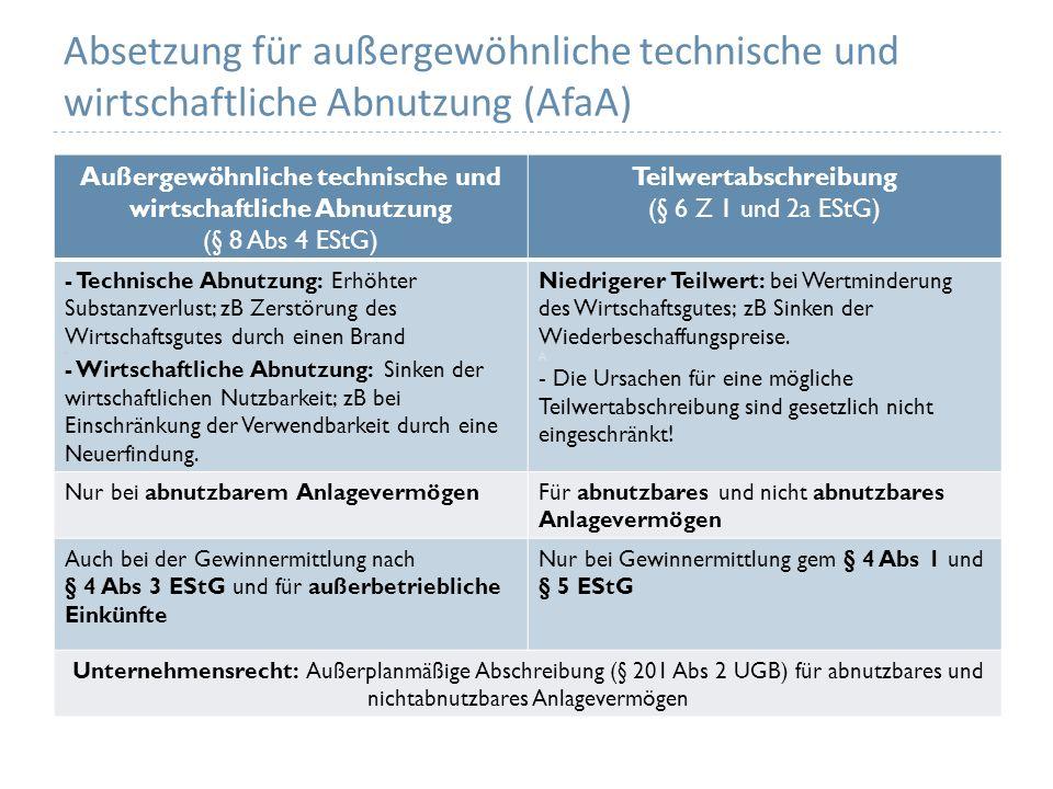 Absetzung für außergewöhnliche technische und wirtschaftliche Abnutzung (AfaA) Außergewöhnliche technische und wirtschaftliche Abnutzung (§ 8 Abs 4 ES