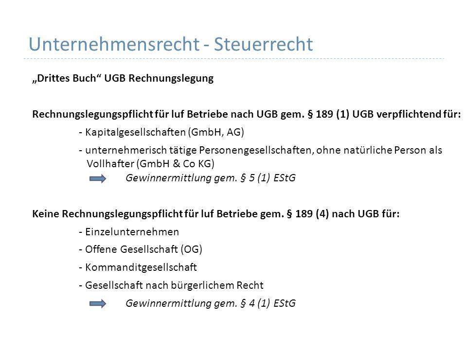 Unternehmensrecht - Steuerrecht Drittes Buch UGB Rechnungslegung Rechnungslegungspflicht für luf Betriebe nach UGB gem.