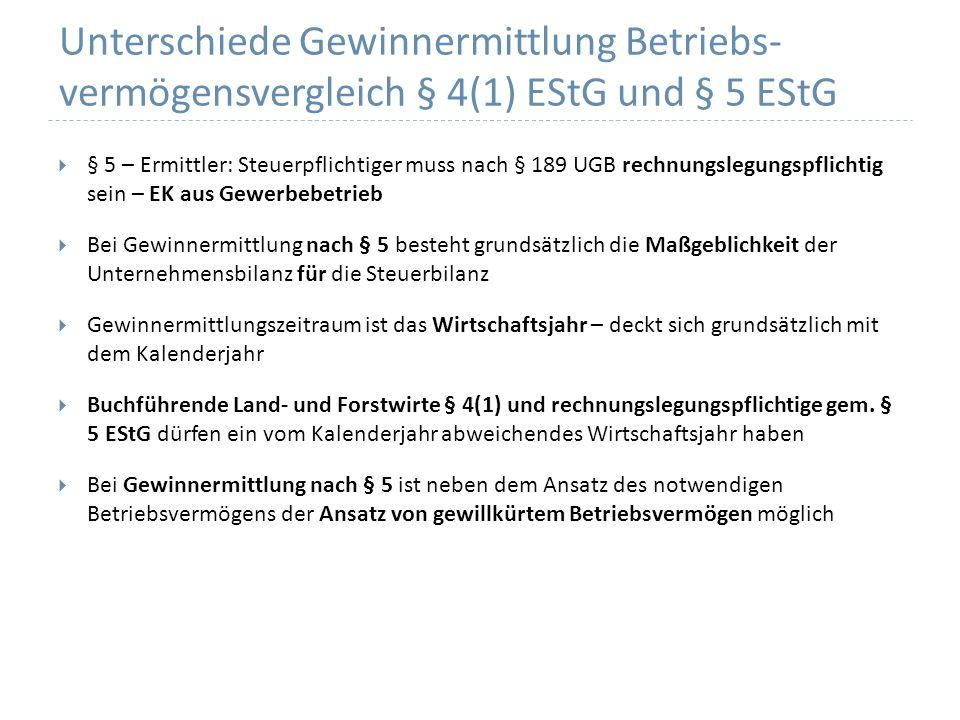 Unterschiede Gewinnermittlung Betriebs- vermögensvergleich § 4(1) EStG und § 5 EStG § 5 – Ermittler: Steuerpflichtiger muss nach § 189 UGB rechnungsle