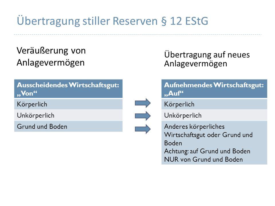 Übertragung stiller Reserven § 12 EStG Veräußerung von Anlagevermögen Übertragung auf neues Anlagevermögen Ausscheidendes Wirtschaftsgut: Von Körperli
