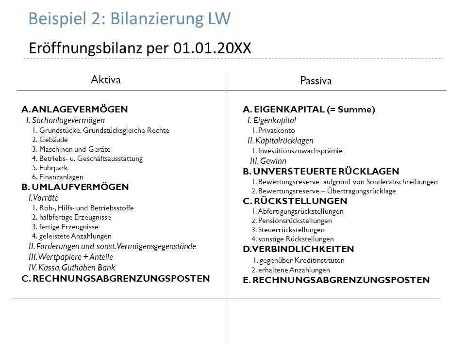 Beispiel 2: Bilanzierung LW Eröffnungsbilanz per 01.01.20XX Aktiva Passiva A. ANLAGEVERMÖGEN I. Sachanlagevermögen 1. Grundstücke, Grundstücksgleiche