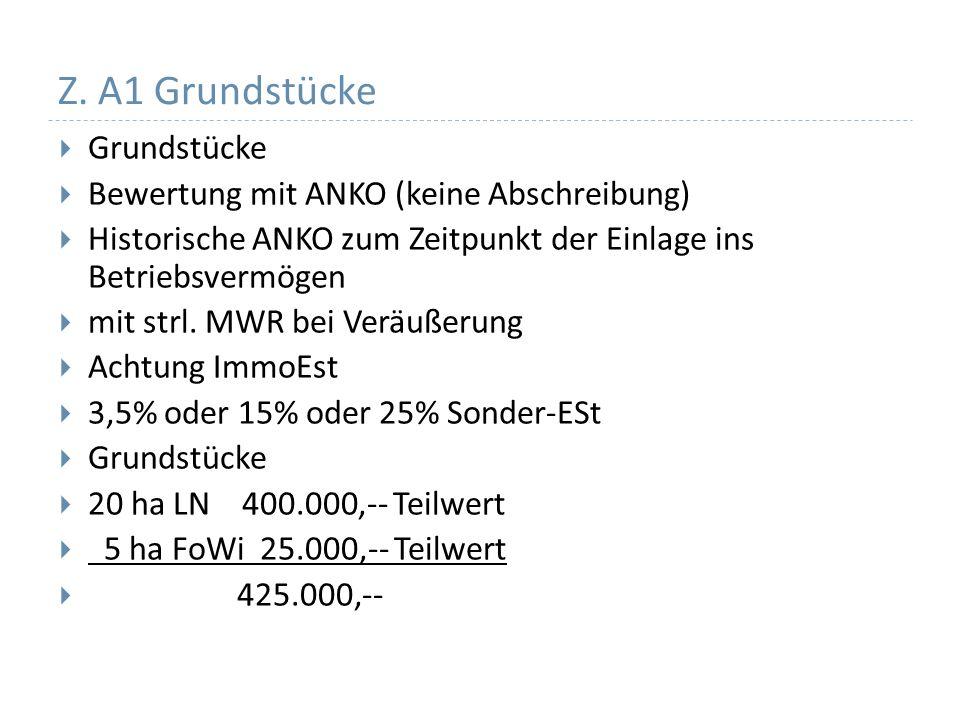 Z. A1 Grundstücke Grundstücke Bewertung mit ANKO (keine Abschreibung) Historische ANKO zum Zeitpunkt der Einlage ins Betriebsvermögen mit strl. MWR be