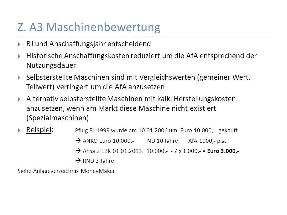 Z. A3 Maschinenbewertung BJ und Anschaffungsjahr entscheidend Historische Anschaffungskosten reduziert um die AfA entsprechend der Nutzungsdauer Selbs