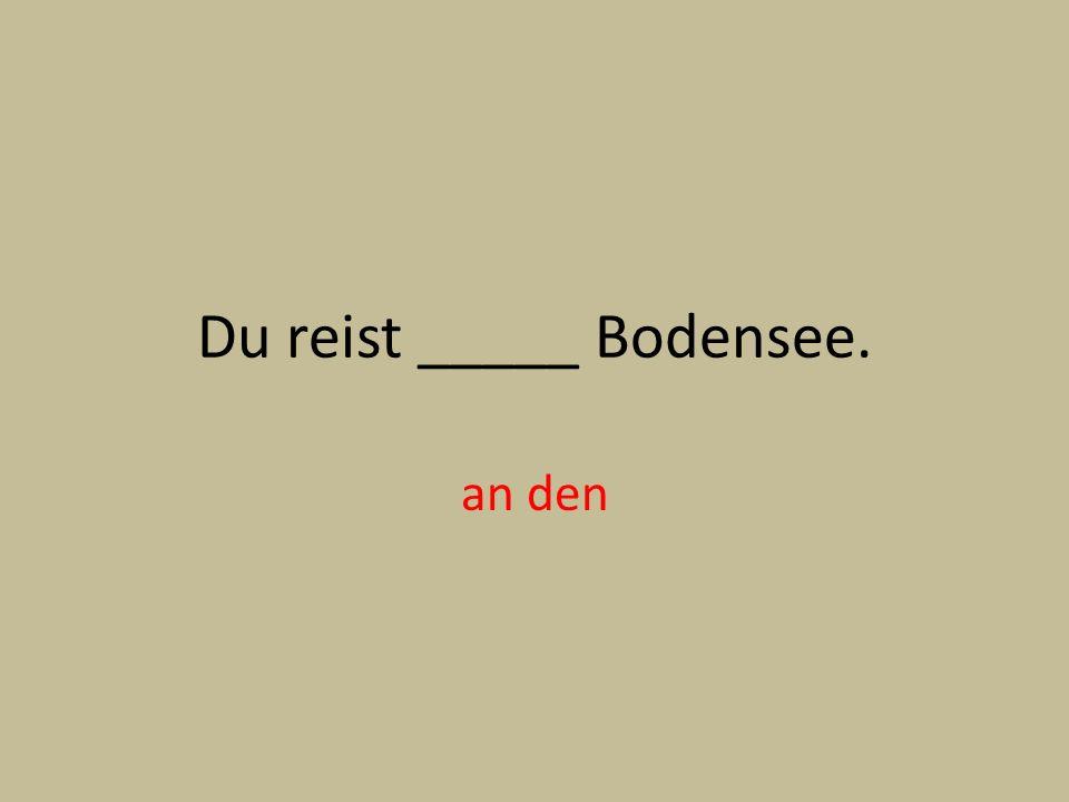 Du reist _____ Bodensee. an den
