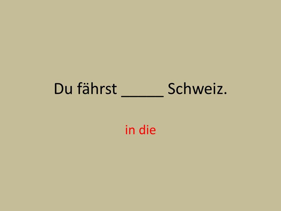 Du fährst _____ Schweiz. in die