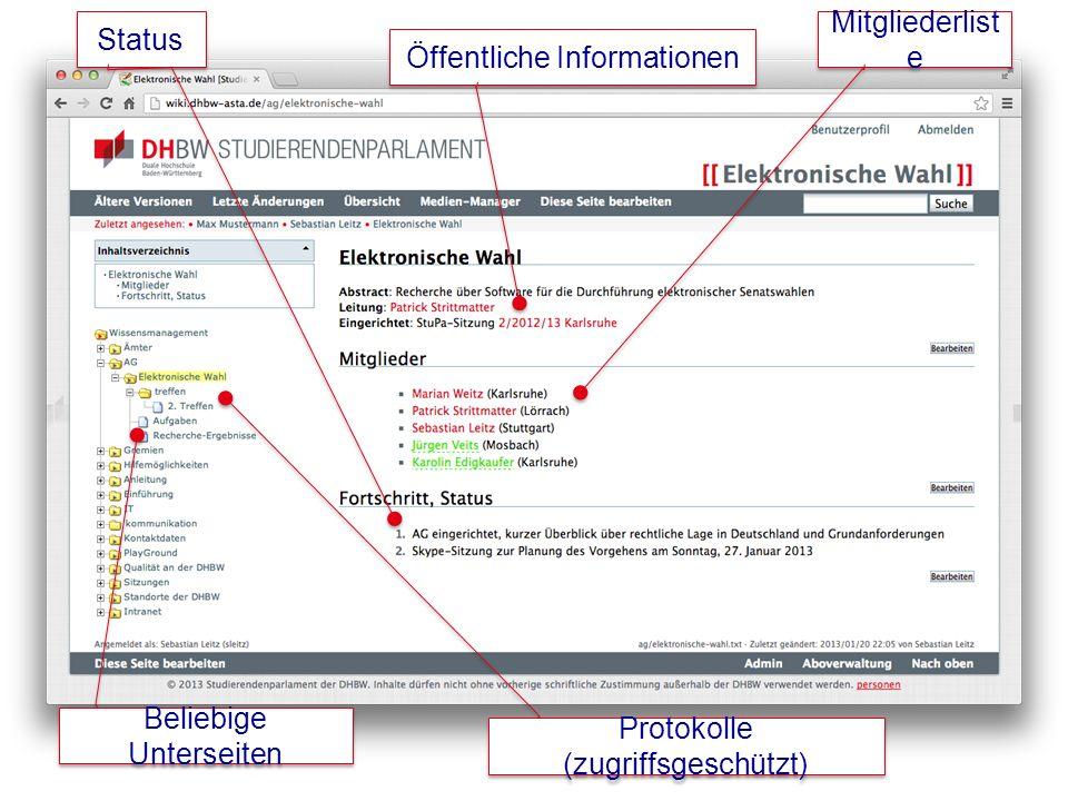 Mitgliederlist e Öffentliche Informationen Status Protokolle (zugriffsgeschützt) Beliebige Unterseiten