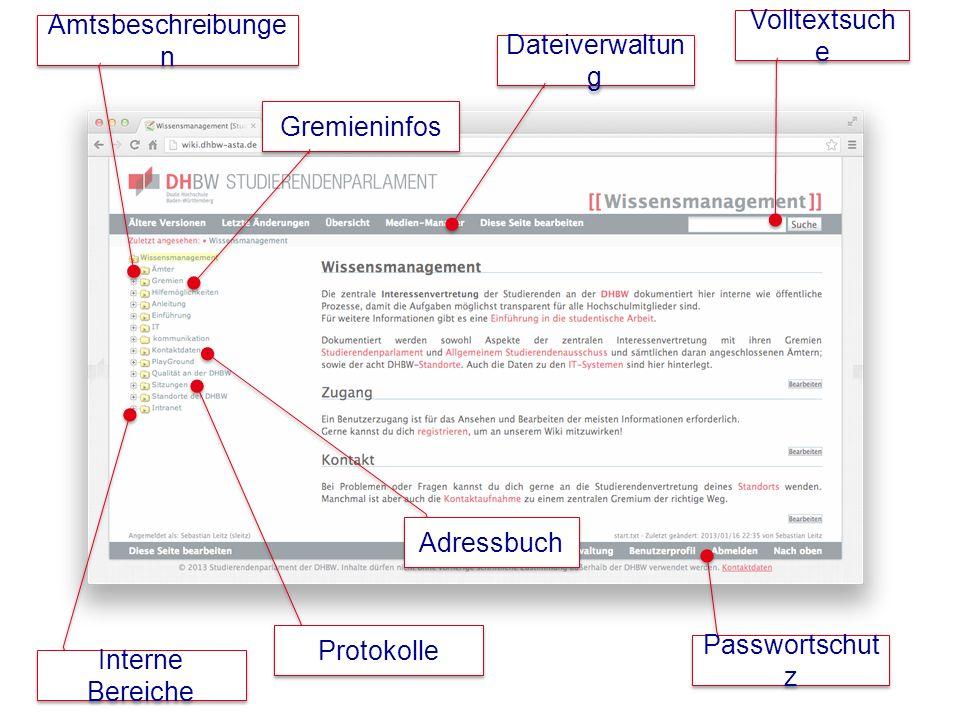 Volltextsuch e Dateiverwaltun g Amtsbeschreibunge n Gremieninfos Passwortschut z Interne Bereiche Protokolle Adressbuch
