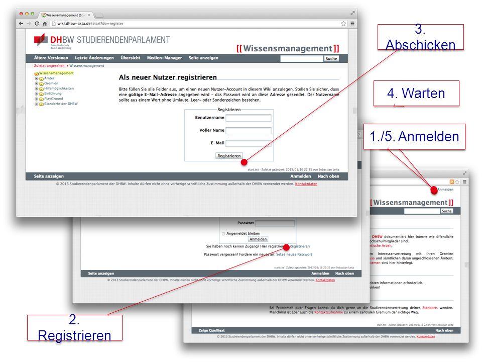 Mitmachen – Registrieren – Anmelden 1. Anmelden 2.