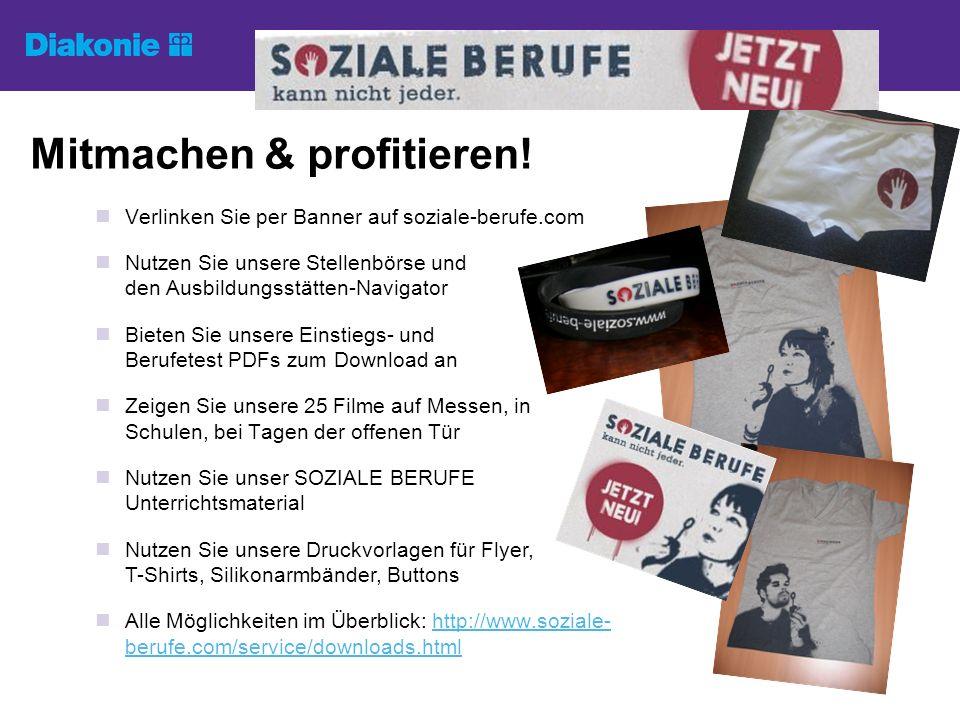 Mitmachen & profitieren! Verlinken Sie per Banner auf soziale-berufe.com Nutzen Sie unsere Stellenbörse und den Ausbildungsstätten-Navigator Bieten Si