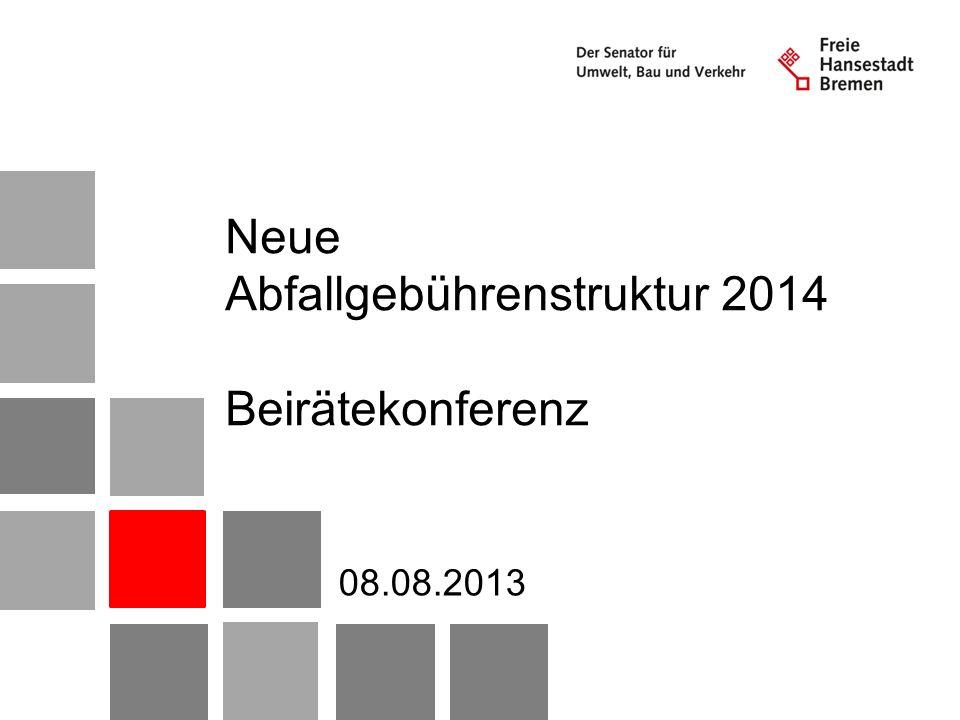 Themen 1.Rahmenbedingungen 2.Kosten und Ursachen Gebührenmehrbedarf 3.Gebühren ab 2014 4.Auswirkungen 2Abfallgebühr 2014 – Beirätekonferenz 08.08.2013