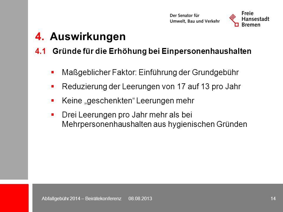 4.1 Gründe für die Erhöhung bei Einpersonenhaushalten Maßgeblicher Faktor: Einführung der Grundgebühr Reduzierung der Leerungen von 17 auf 13 pro Jahr