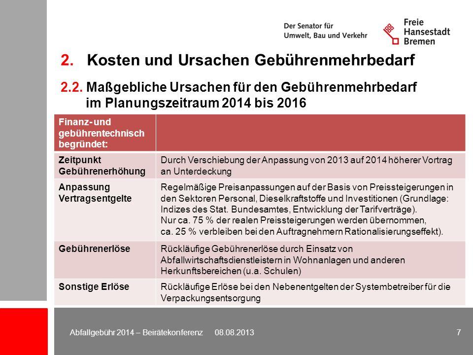 2. Kosten und Ursachen Gebührenmehrbedarf 7Abfallgebühr 2014 – Beirätekonferenz 08.08.2013 Finanz- und gebührentechnisch begründet: Zeitpunkt Gebühren