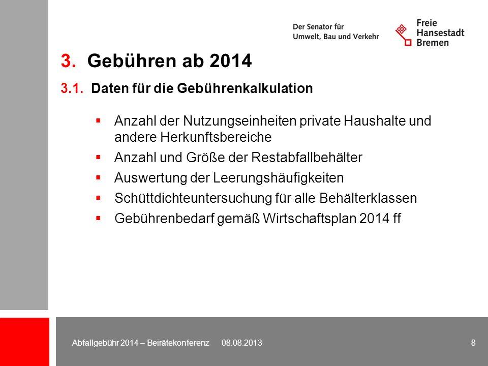 Berechnungsweg Grundgebühr Grundgebühr (25 % des Gebührenbedarfs) 13.491.250 Euro geteilt durch Anzahl Nutzungseinheiten (Grundgebühr-Einheiten) 311.850 Grundgebühr-Einheiten Grundgebühr: 43,26 Euro/Einheit 3.2.