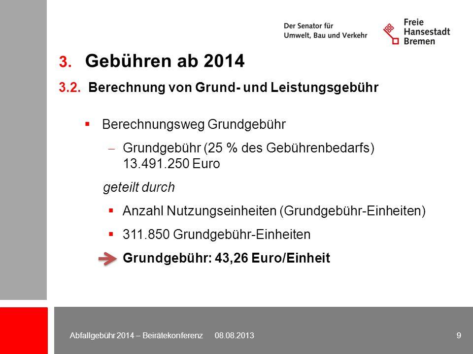 Berechnungsweg Grundgebühr Grundgebühr (25 % des Gebührenbedarfs) 13.491.250 Euro geteilt durch Anzahl Nutzungseinheiten (Grundgebühr-Einheiten) 311.8