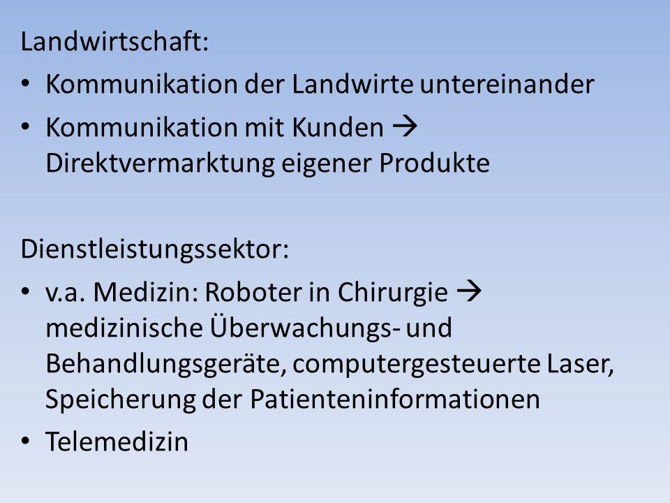 Landwirtschaft: Kommunikation der Landwirte untereinander Kommunikation mit Kunden Direktvermarktung eigener Produkte Dienstleistungssektor: v.a. Medi