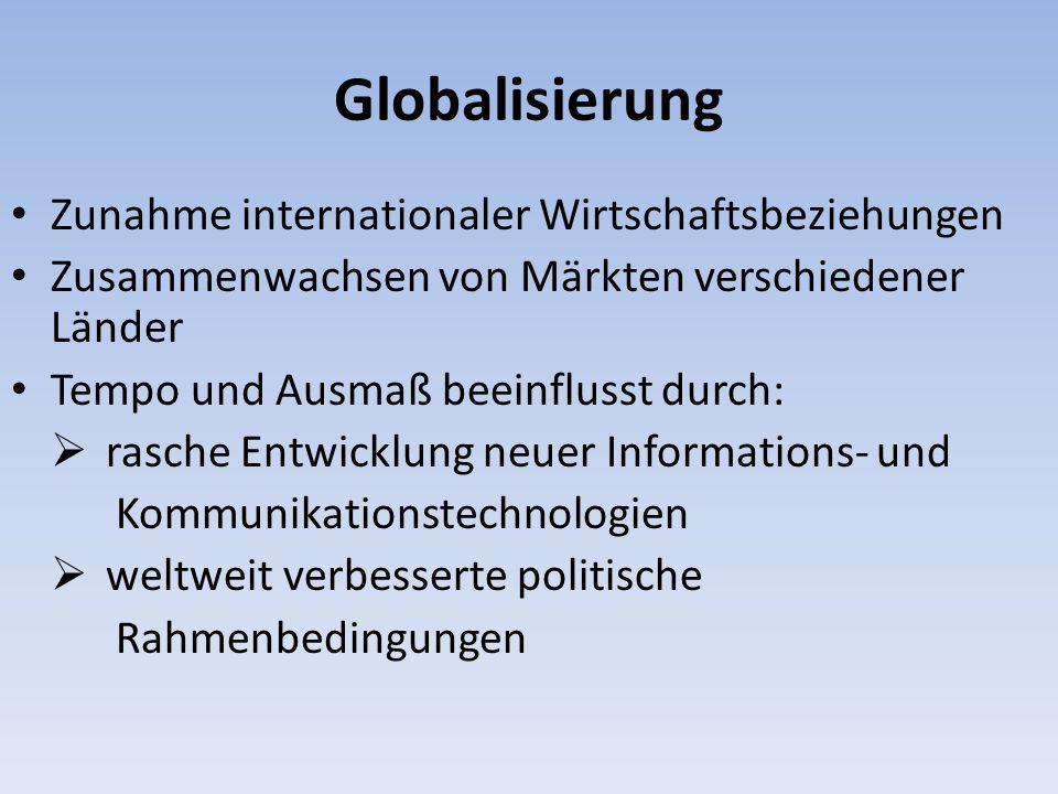 Globalisierung Zunahme internationaler Wirtschaftsbeziehungen Zusammenwachsen von Märkten verschiedener Länder Tempo und Ausmaß beeinflusst durch: ras
