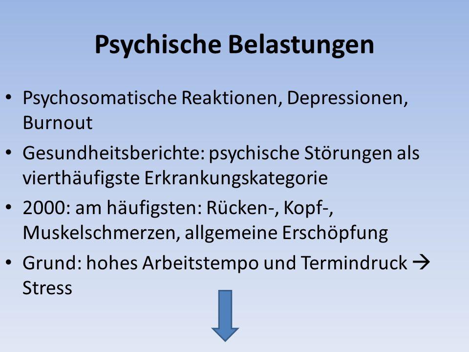 Psychische Belastungen Psychosomatische Reaktionen, Depressionen, Burnout Gesundheitsberichte: psychische Störungen als vierthäufigste Erkrankungskate