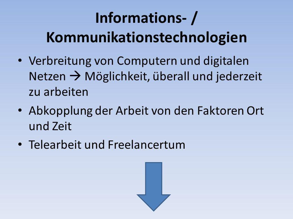 Informations- / Kommunikationstechnologien Verbreitung von Computern und digitalen Netzen Möglichkeit, überall und jederzeit zu arbeiten Abkopplung de