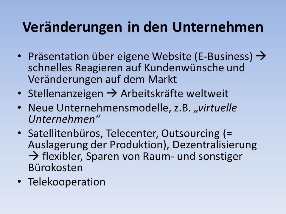 Veränderungen in den Unternehmen Präsentation über eigene Website (E-Business) schnelles Reagieren auf Kundenwünsche und Veränderungen auf dem Markt S