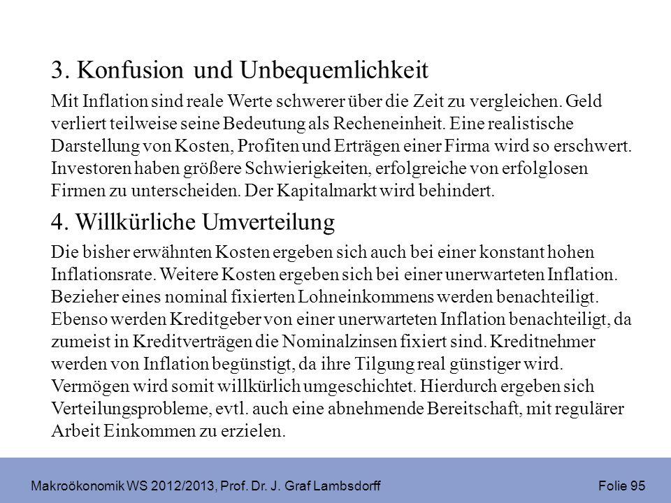 Makroökonomik WS 2012/2013, Prof. Dr. J. Graf Lambsdorff Folie 95 3. Konfusion und Unbequemlichkeit Mit Inflation sind reale Werte schwerer über die Z