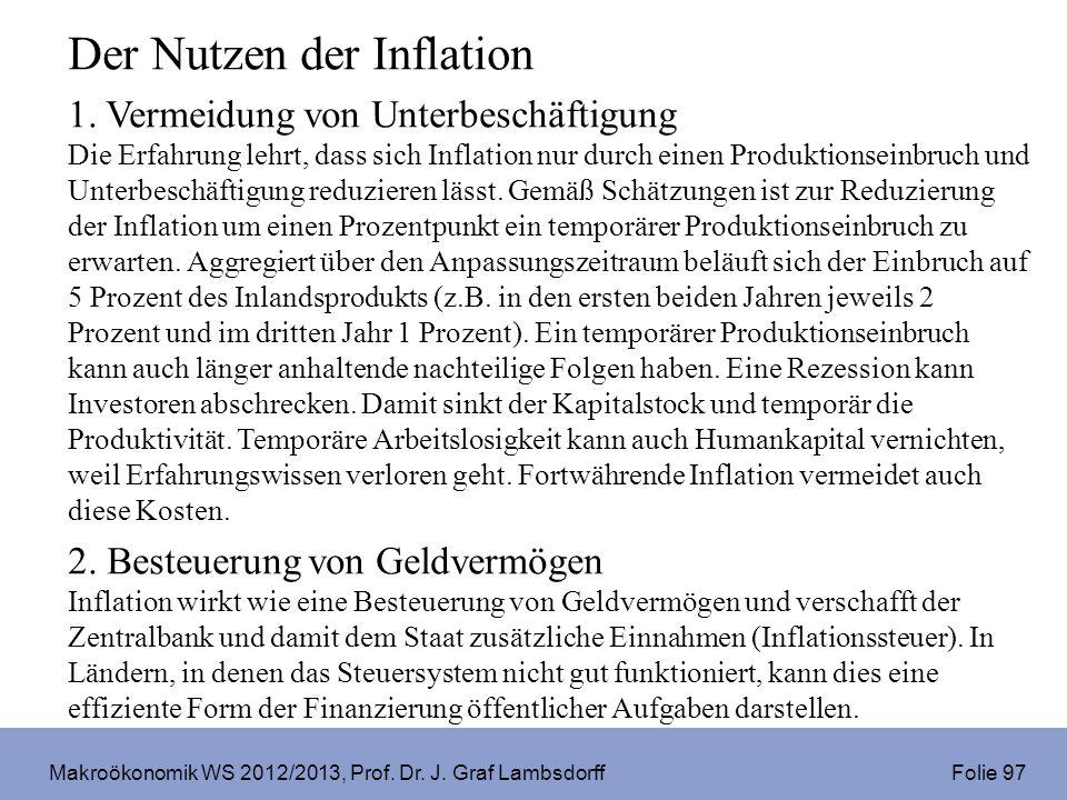 Makroökonomik WS 2012/2013, Prof. Dr. J. Graf Lambsdorff Folie 97 Der Nutzen der Inflation 1. Vermeidung von Unterbeschäftigung Die Erfahrung lehrt, d