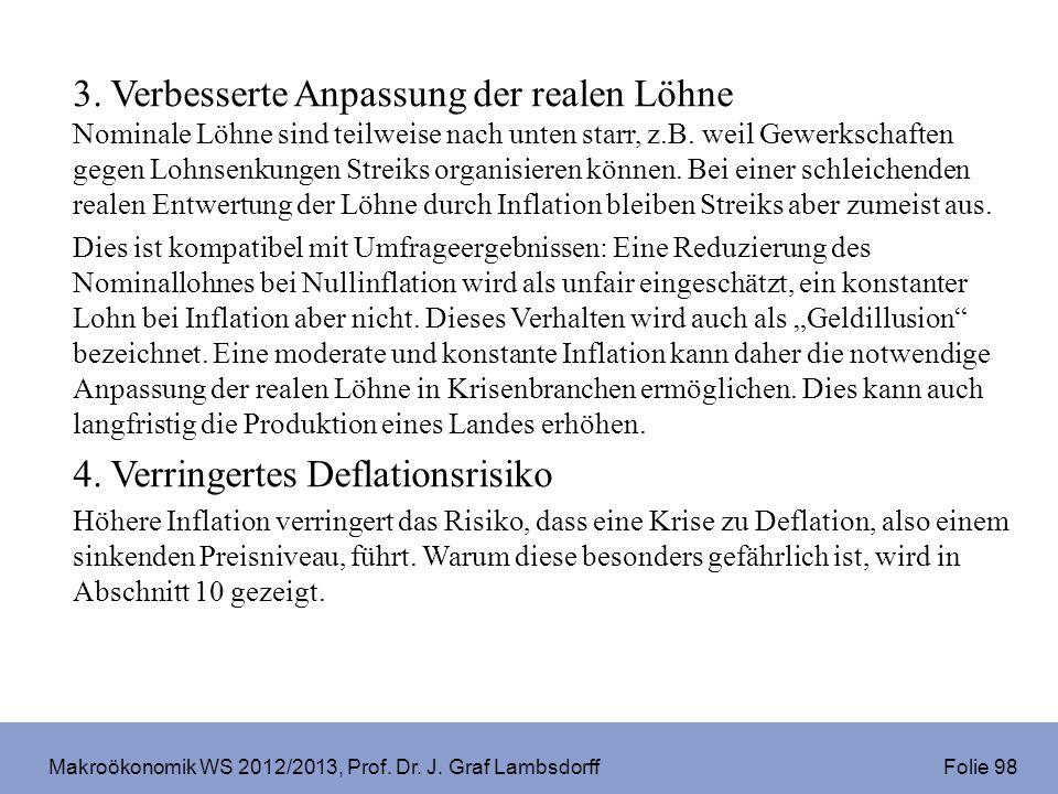 Makroökonomik WS 2012/2013, Prof. Dr. J. Graf Lambsdorff Folie 98 3. Verbesserte Anpassung der realen Löhne Nominale Löhne sind teilweise nach unten s