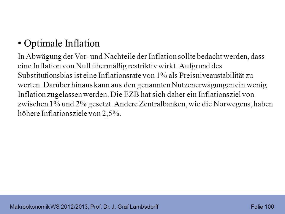 Makroökonomik WS 2012/2013, Prof. Dr. J. Graf Lambsdorff Folie 100 Optimale Inflation In Abwägung der Vor- und Nachteile der Inflation sollte bedacht