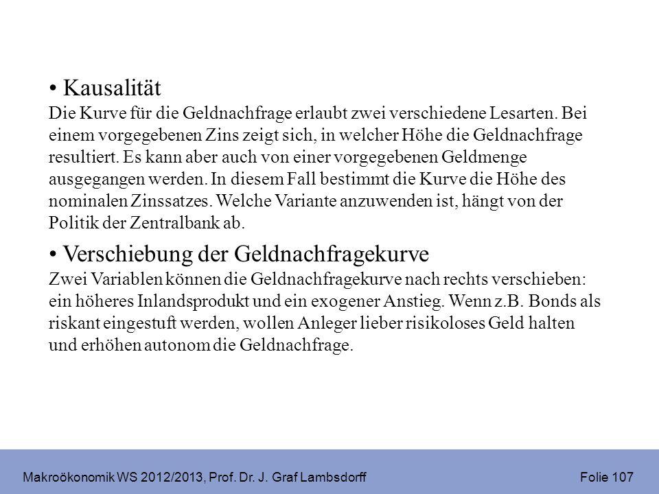 Makroökonomik WS 2012/2013, Prof. Dr. J. Graf Lambsdorff Folie 107 Kausalität Die Kurve für die Geldnachfrage erlaubt zwei verschiedene Lesarten. Bei