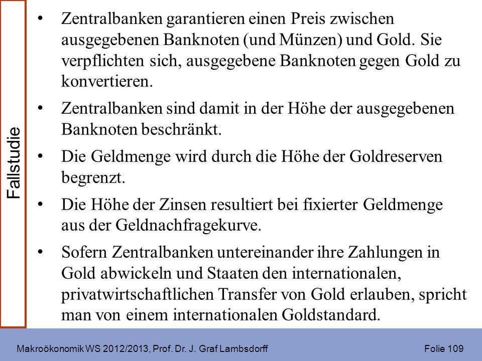 Makroökonomik WS 2012/2013, Prof. Dr. J. Graf Lambsdorff Folie 109 Zentralbanken garantieren einen Preis zwischen ausgegebenen Banknoten (und Münzen)