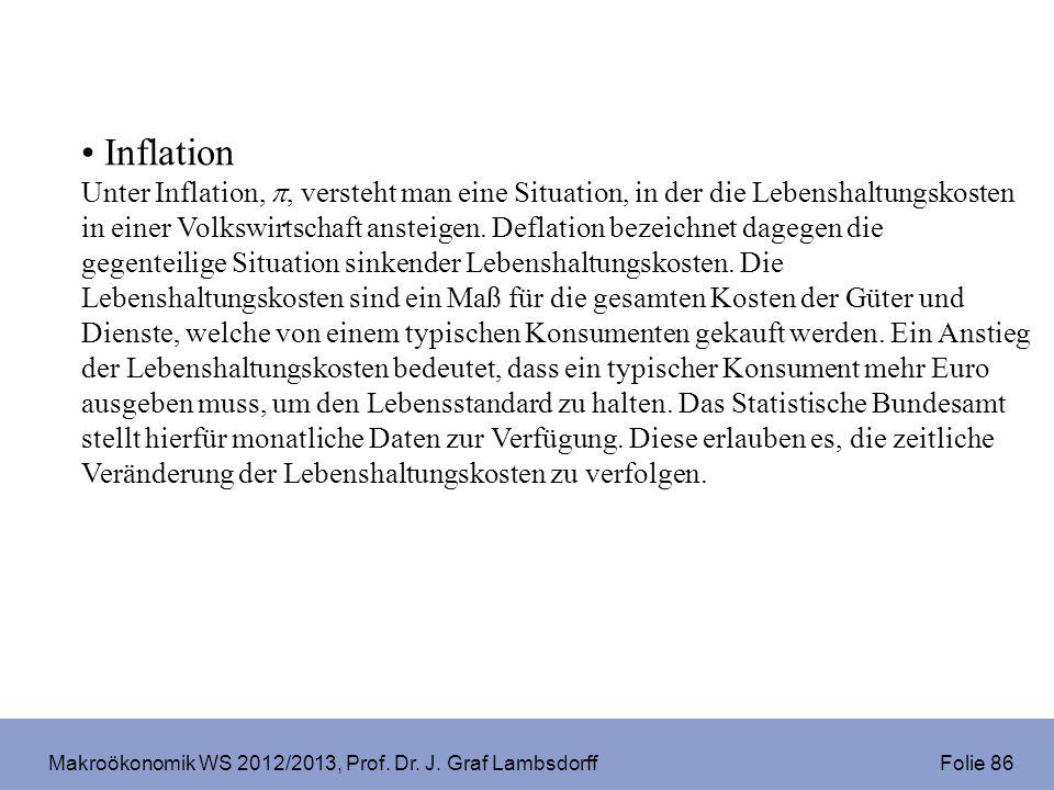 Makroökonomik WS 2012/2013, Prof. Dr. J. Graf Lambsdorff Folie 86 Inflation Unter Inflation,, versteht man eine Situation, in der die Lebenshaltungsko