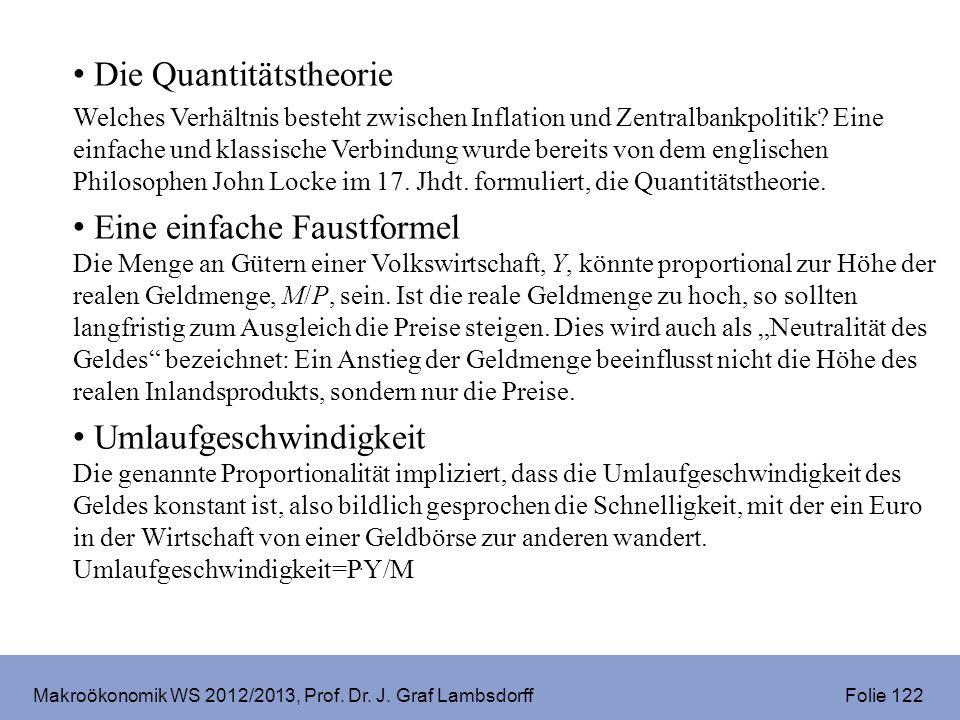 Makroökonomik WS 2012/2013, Prof. Dr. J. Graf Lambsdorff Folie 122 Die Quantitätstheorie Welches Verhältnis besteht zwischen Inflation und Zentralbank