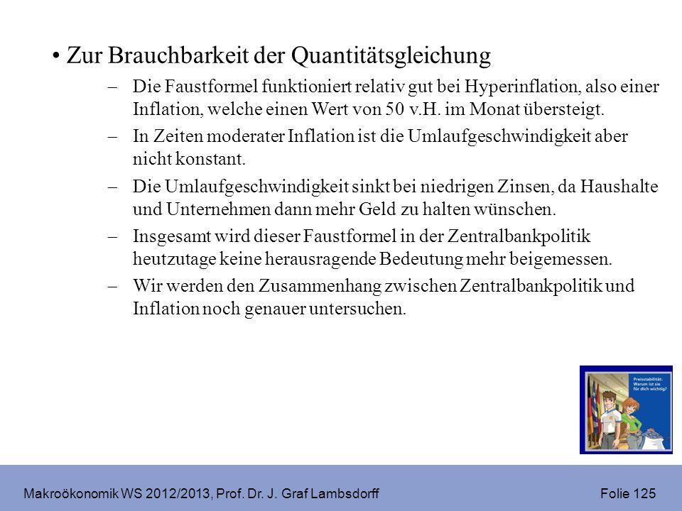Makroökonomik WS 2012/2013, Prof. Dr. J. Graf Lambsdorff Folie 125 Zur Brauchbarkeit der Quantitätsgleichung Die Faustformel funktioniert relativ gut