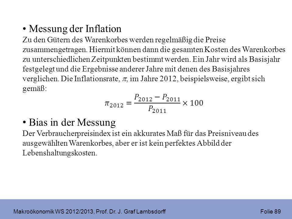Makroökonomik WS 2012/2013, Prof. Dr. J. Graf Lambsdorff Folie 89
