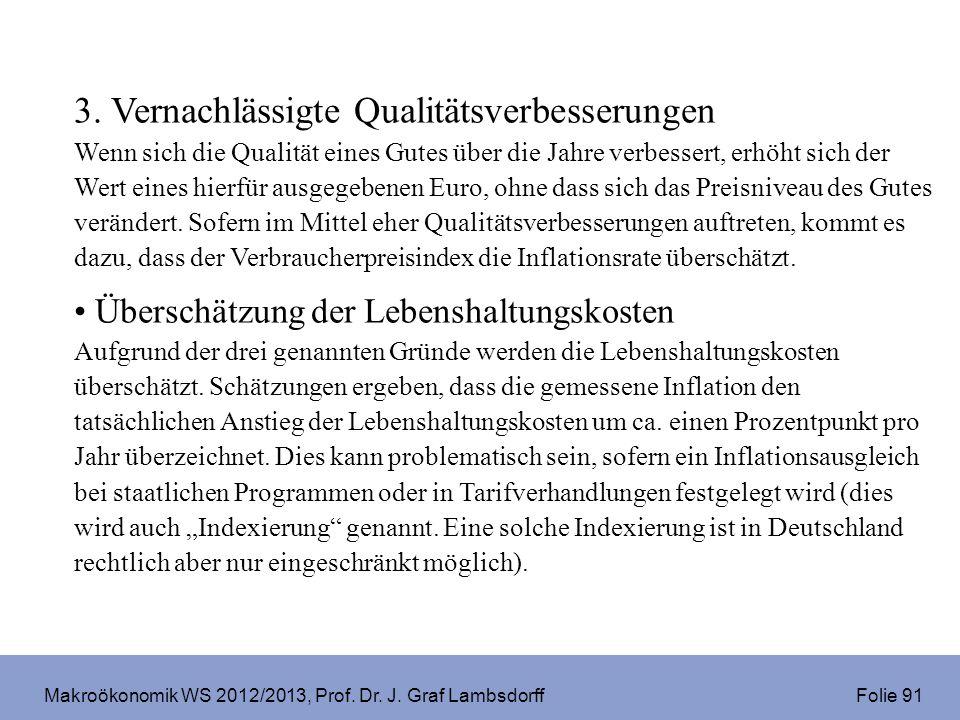 Makroökonomik WS 2012/2013, Prof. Dr. J. Graf Lambsdorff Folie 91 3. Vernachlässigte Qualitätsverbesserungen Wenn sich die Qualität eines Gutes über d