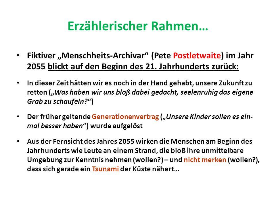 Erzählerischer Rahmen… Fiktiver Menschheits-Archivar (Pete Postletwaite) im Jahr 2055 blickt auf den Beginn des 21.