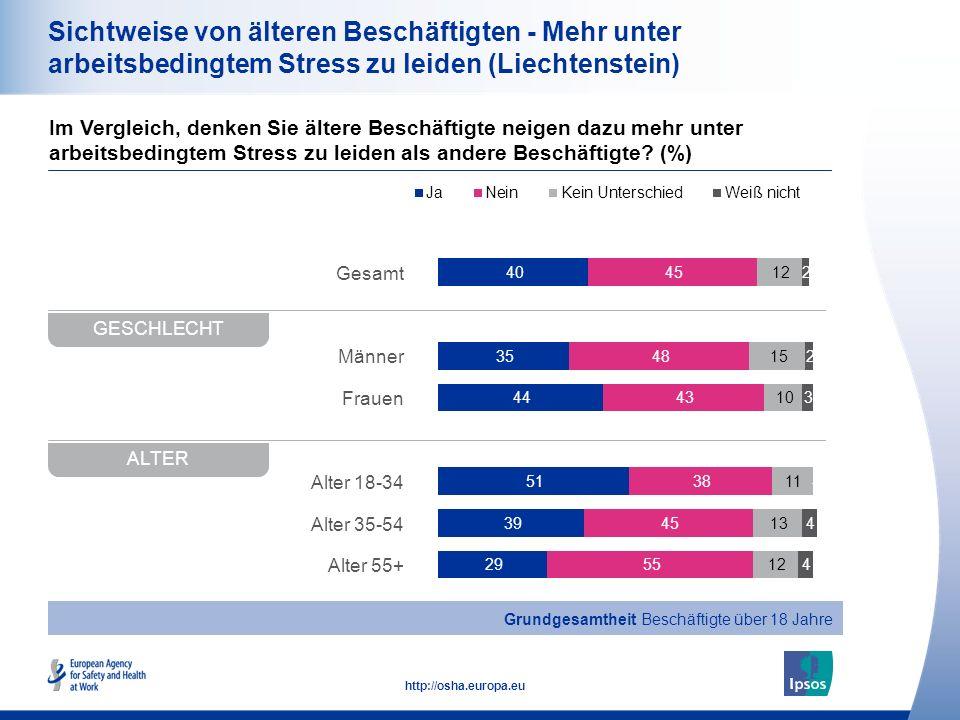20 http://osha.europa.eu Gesamt Männer Frauen Alter 18-34 Alter 35-54 Alter 55+ Sichtweise von älteren Beschäftigten - Mehr unter arbeitsbedingtem Str