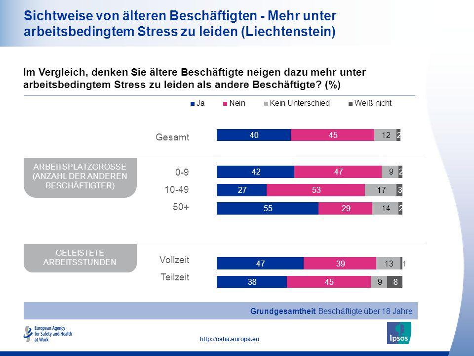 21 http://osha.europa.eu Sichtweise von älteren Beschäftigten - Mehr unter arbeitsbedingtem Stress zu leiden (Liechtenstein) Im Vergleich, denken Sie