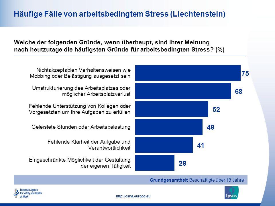 33 http://osha.europa.eu Häufige Fälle von arbeitsbedingtem Stress (Liechtenstein) Welche der folgenden Gründe, wenn überhaupt, sind Ihrer Meinung nac